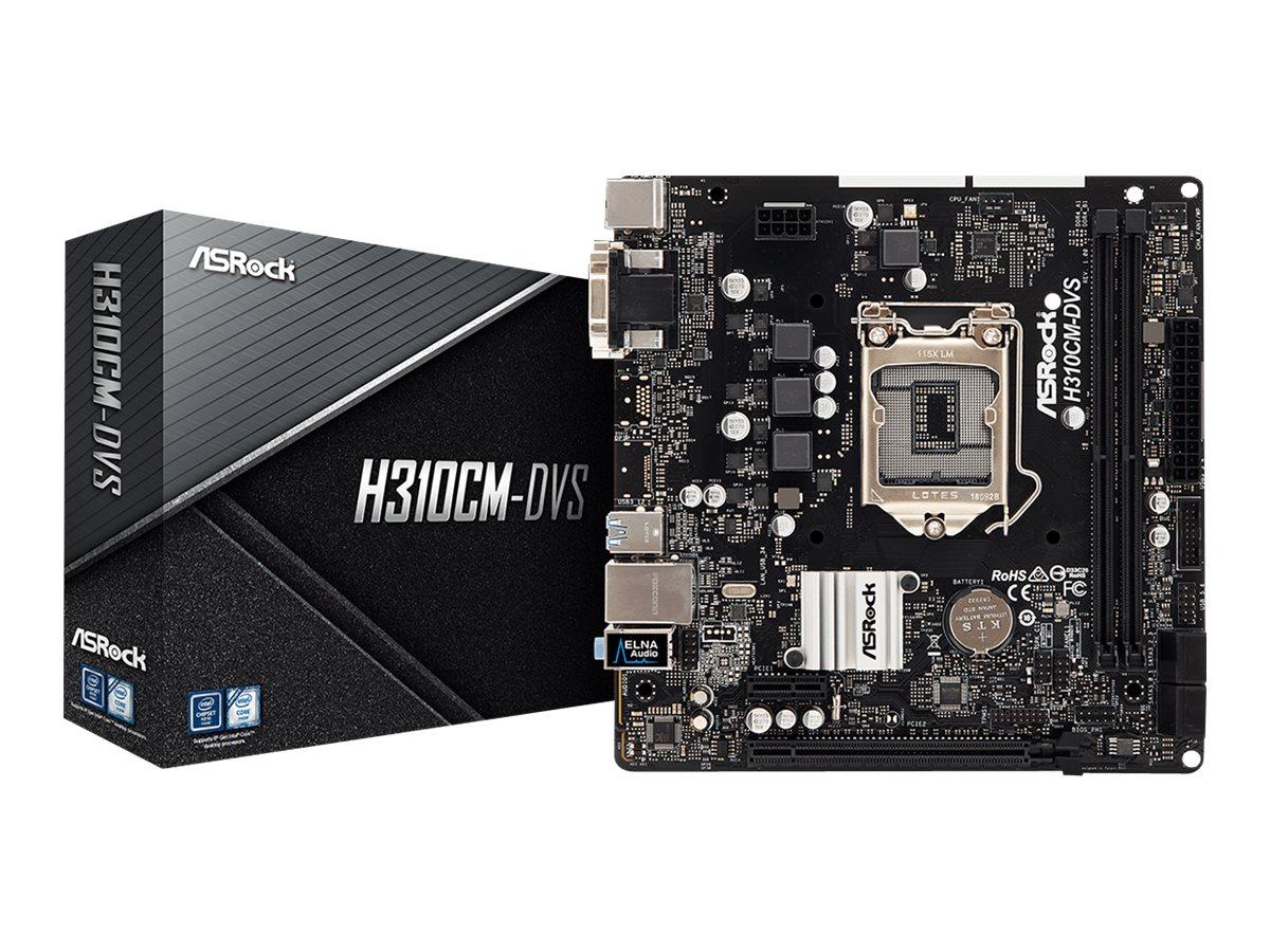 ASRock H310CM-DVS - Motherboard - micro ATX - LGA1151 Socket - H310 - USB 3.1 Gen 1 - Gigabit LAN - Onboard-Grafik (CPU erforderlich)