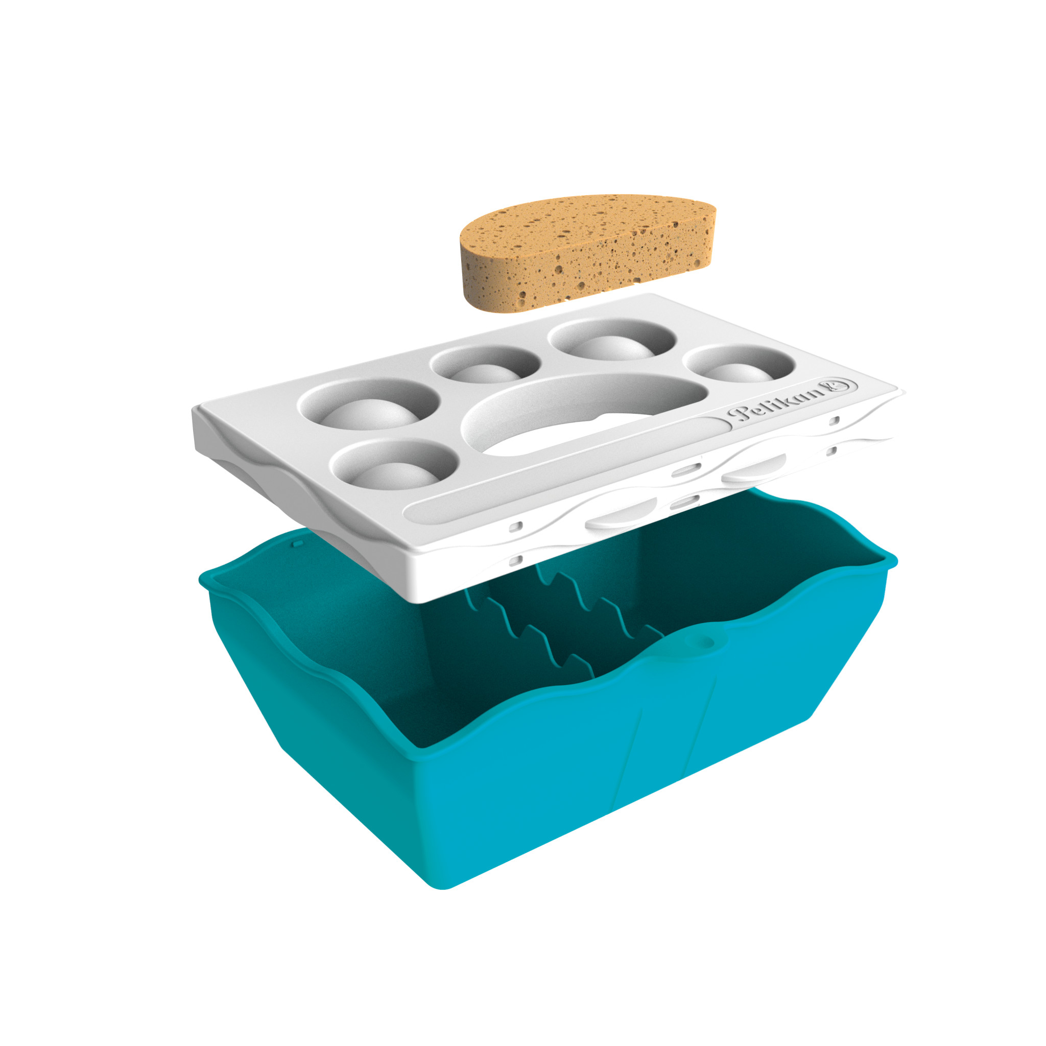 Vorschau: Pelikan Kreativfabrik Malzubehörset klein S - Junge/Mädchen - Deutschland - Wasserbox mit Mischpalette und Schwamm und wasserfestem Stickerbogen
