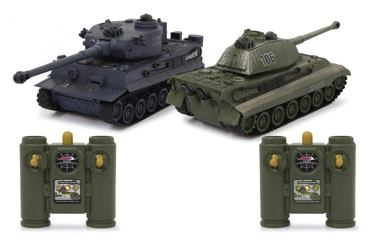 JAMARA Panzer Tiger Battle Set 1:28 2.4GHz - Funkgesteuerter (RC) Panzer - Elektromotor - 1:28 - Betriebsbereit (RTR) - Grün - Grau - Junge