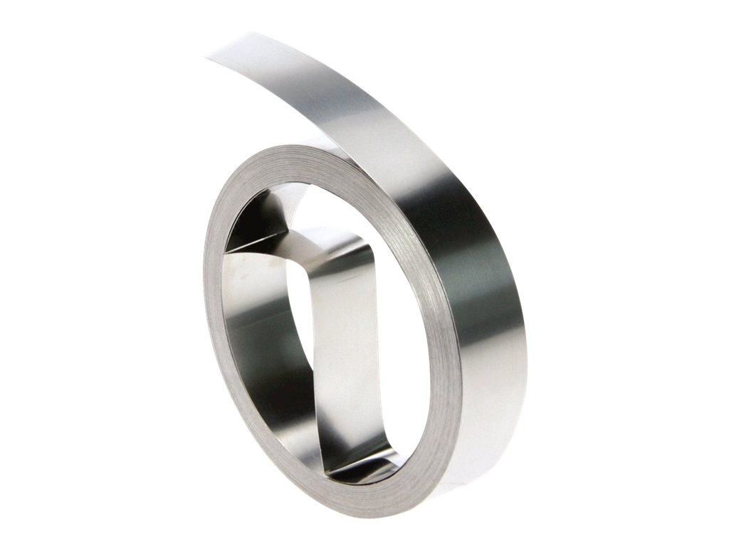 Dymo Rhino Prägeband - Rostfreier Stahl - nicht klebend - Silber - Rolle (1,27 cm x 6,4 m)