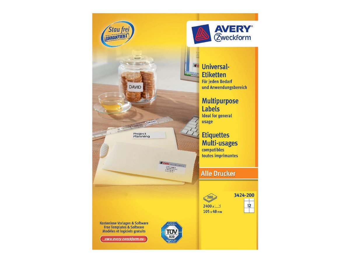 Avery Zweckform 3424 - Weiß - 48 x 105 mm 2400 Etikett(en) (200 Bogen x 12)