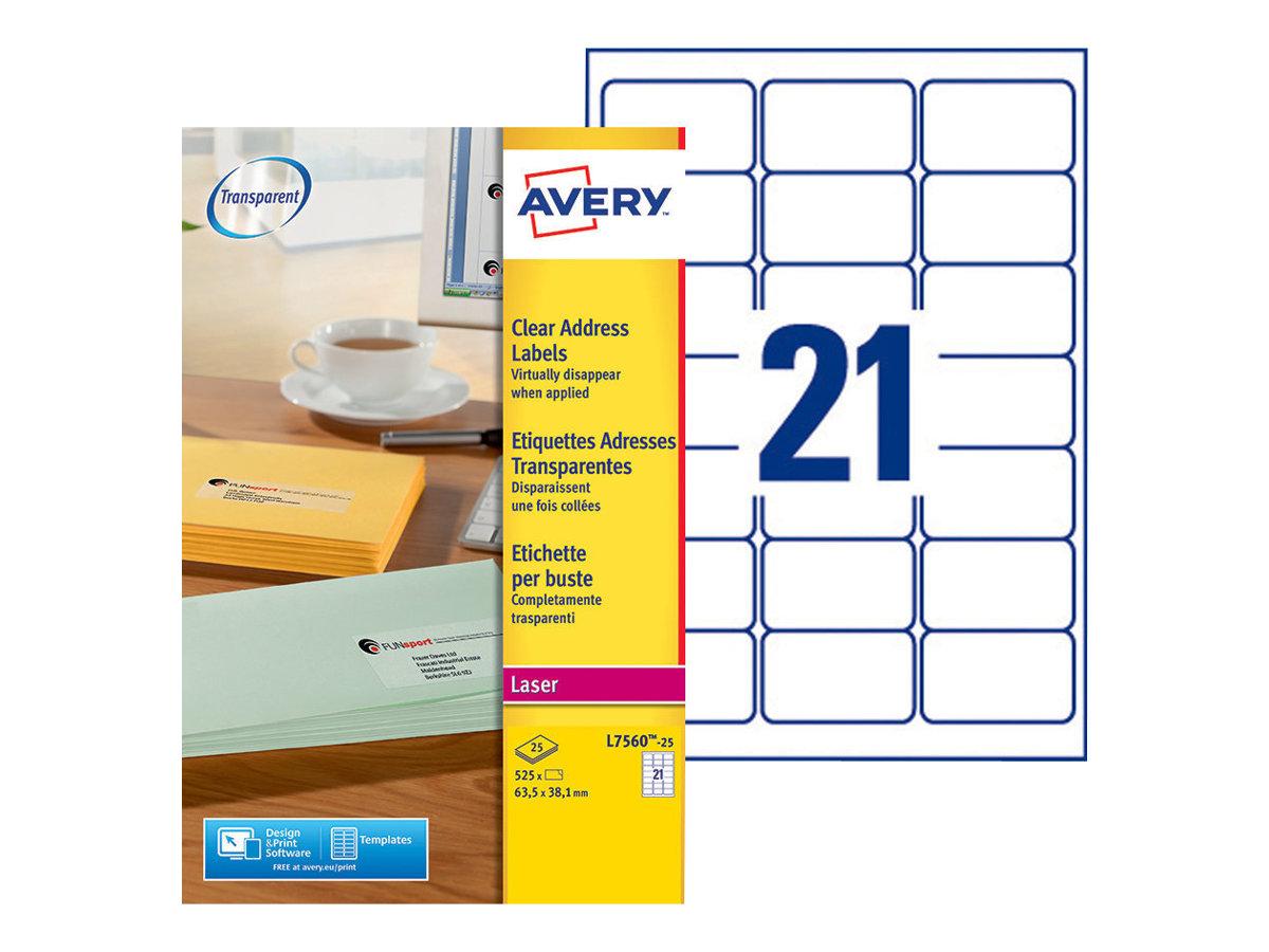 Avery Zweckform  Klar - 63.5 x 38.1 mm 525 Etikett(en) (25 Bogen x 21) Adressetiketten