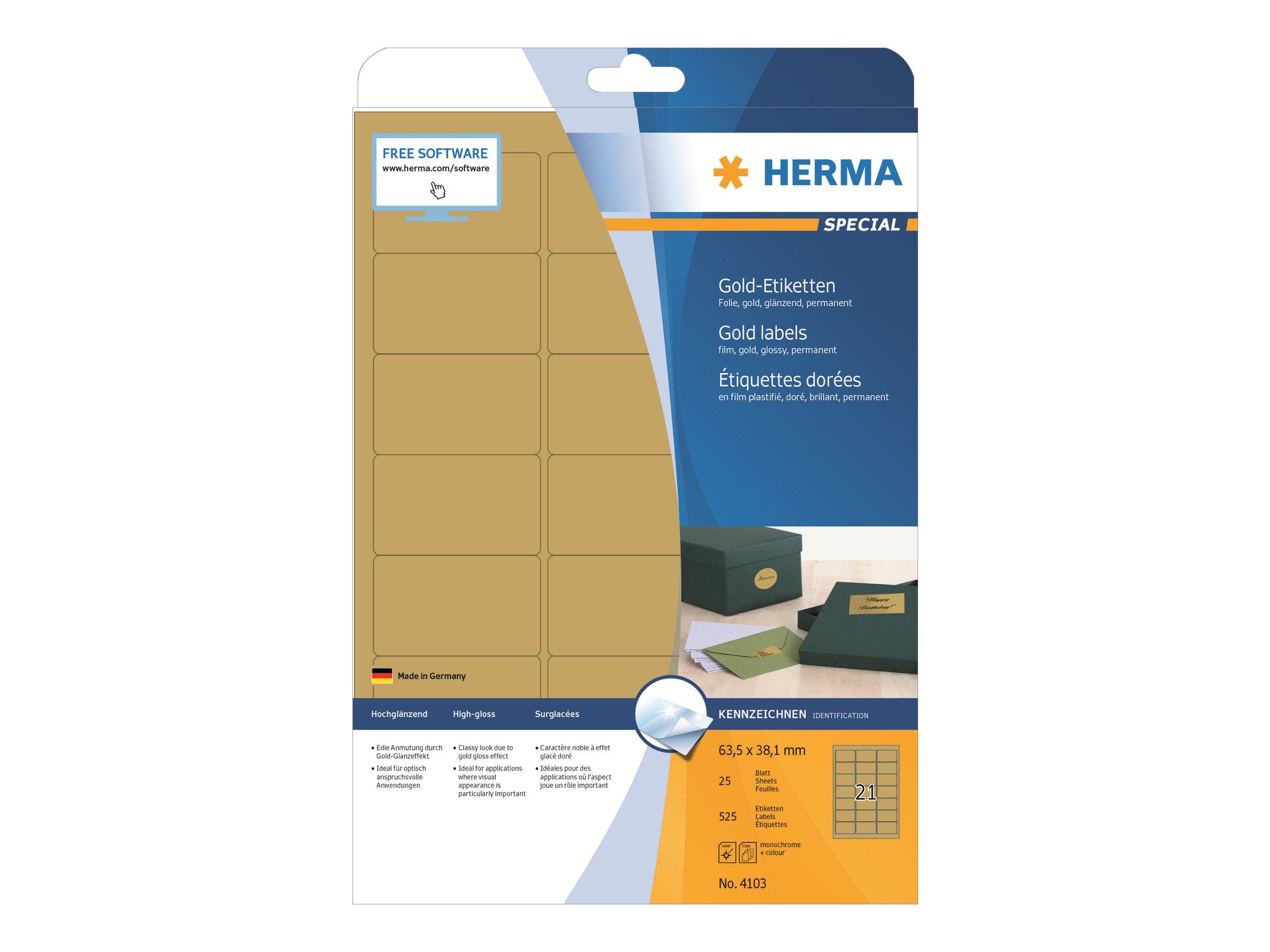 HERMA Special - Polyester - glänzend - permanent selbstklebend - Gold - 63.5 x 38.1 mm 525 Etikett(en) (25 Bogen x 21)