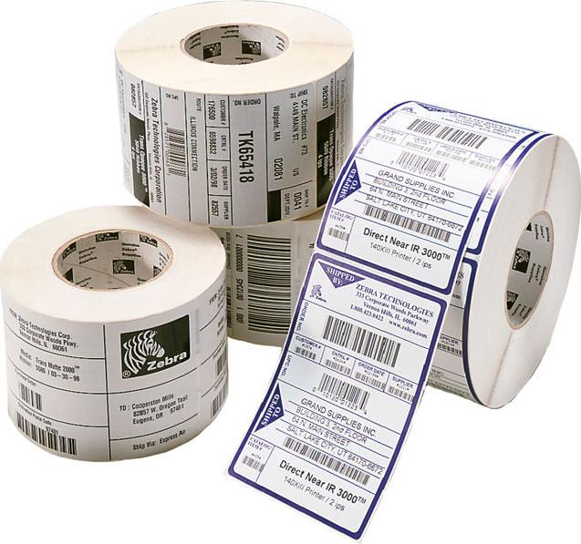 Zebra Z-Select 2000T - Papier - ultra-glänzend - permanenter Acrylklebstoff - beschichtet - perforiert - weiß - 102 x 38 mm 21480 Etikett(en) (12 Rolle(n)