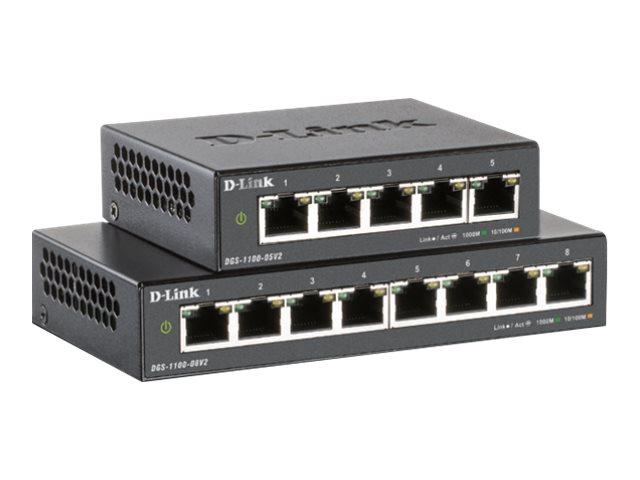 D-Link DGS 1100-05PDV2 - Switch - Smart - 5 x 10/100/1000 (2 PoE)