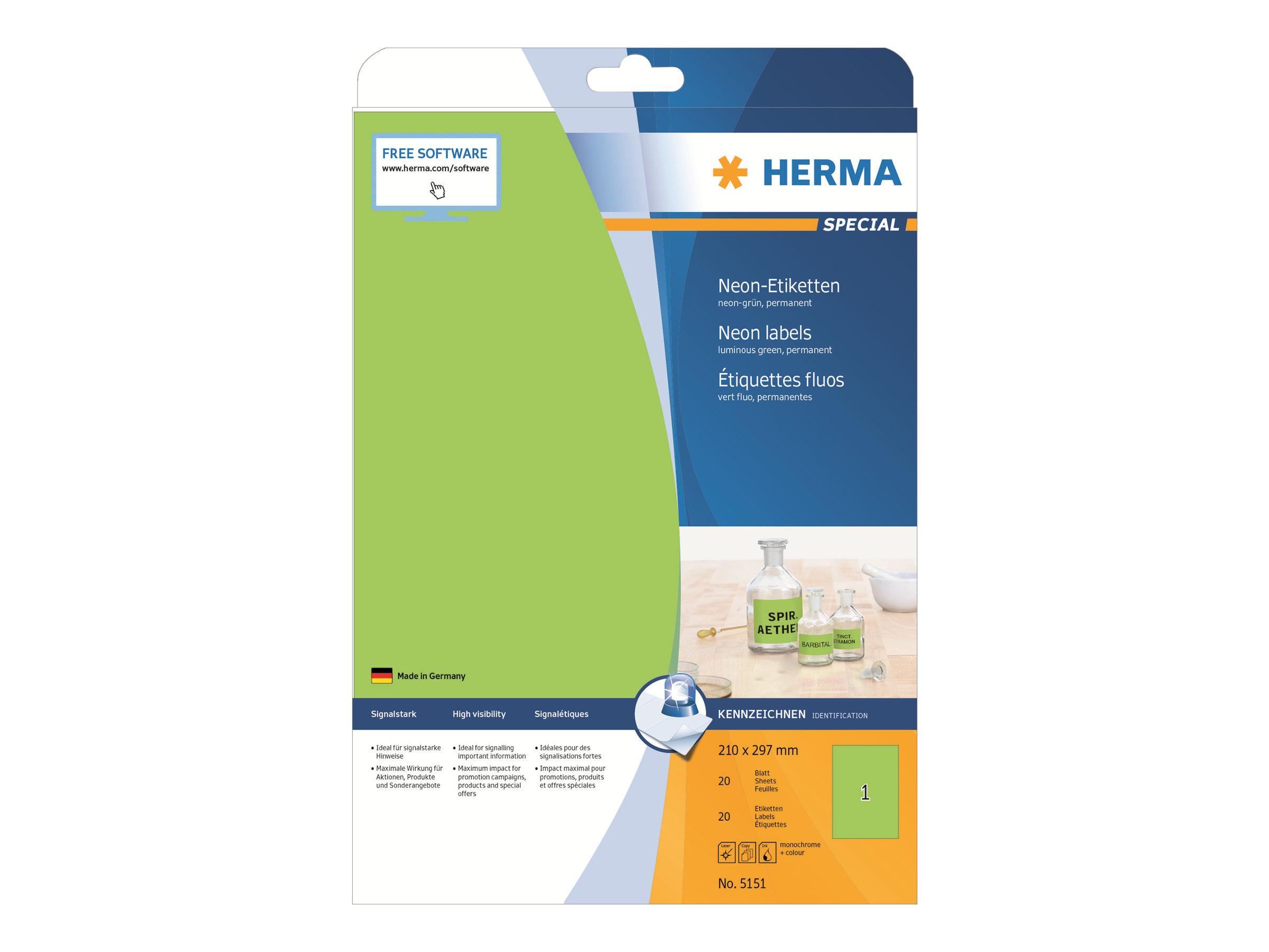 HERMA Special - Papier - matt - permanent selbstklebend - Luminous Green - A4 (210 x 297 mm)