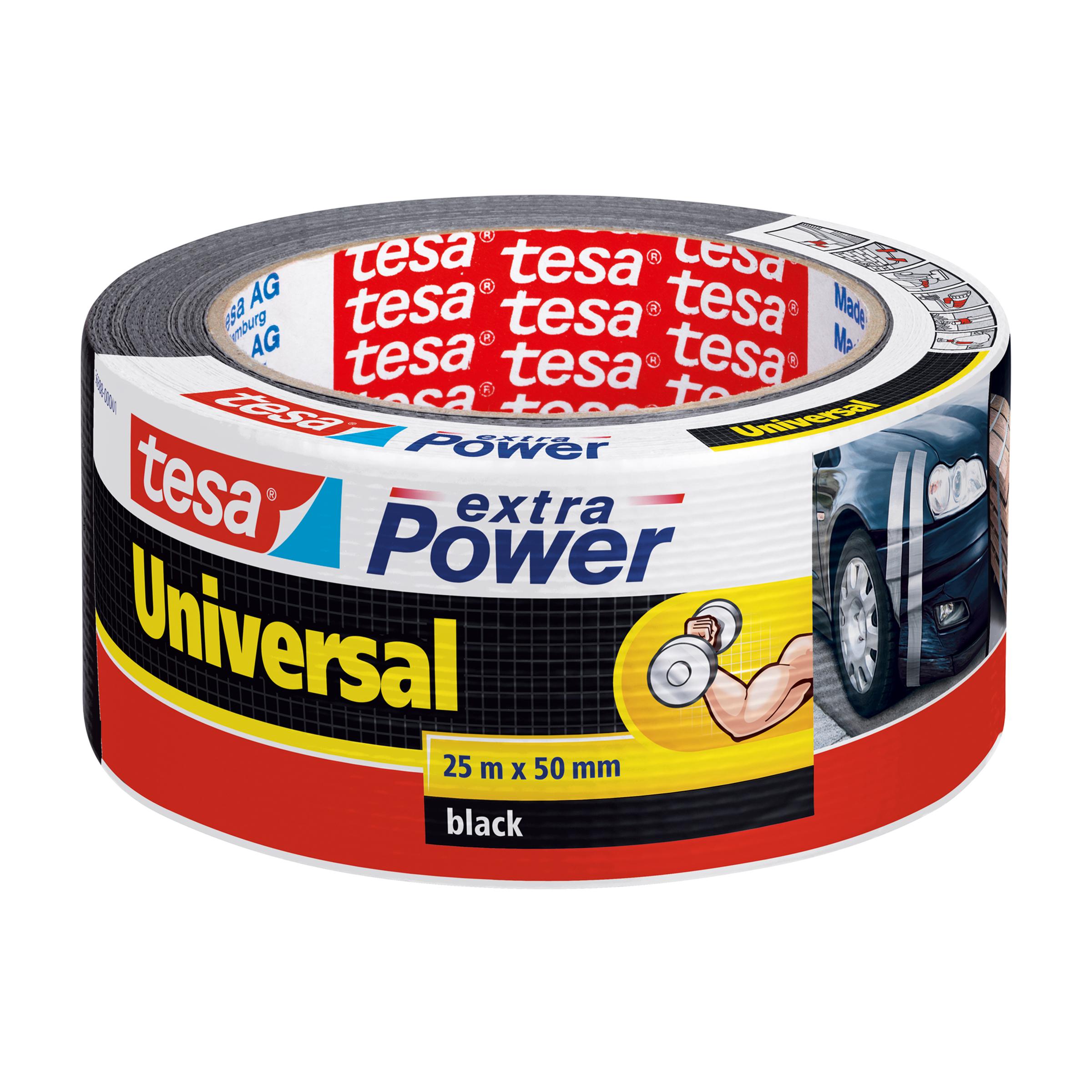 Tesa Extra Power - Schwarz - Befestigung - Handwerk - Kennzeichnung - Reparatur - Metall - Holz - 25 m - 50 mm
