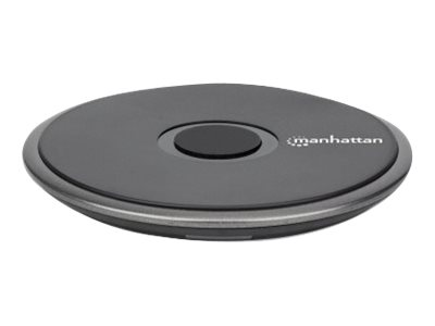 Vorschau: Manhattan Smartphone Wireless Charging Pad, QI certified, 10W, 7.5W and 5W charging, USB-C to USB-A cable included, USB-C input into pad, Cable 1.5m, Black, Boxed