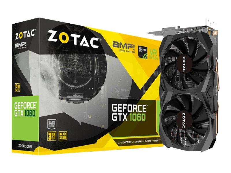 ZOTAC GeForce GTX 1060 - AMP! Core Edition - Grafikkarten GF GTX 1060 - 3 GB GDDR5 - PCIe 3.0 - DVI - HDMI - 3 x DisplayPort