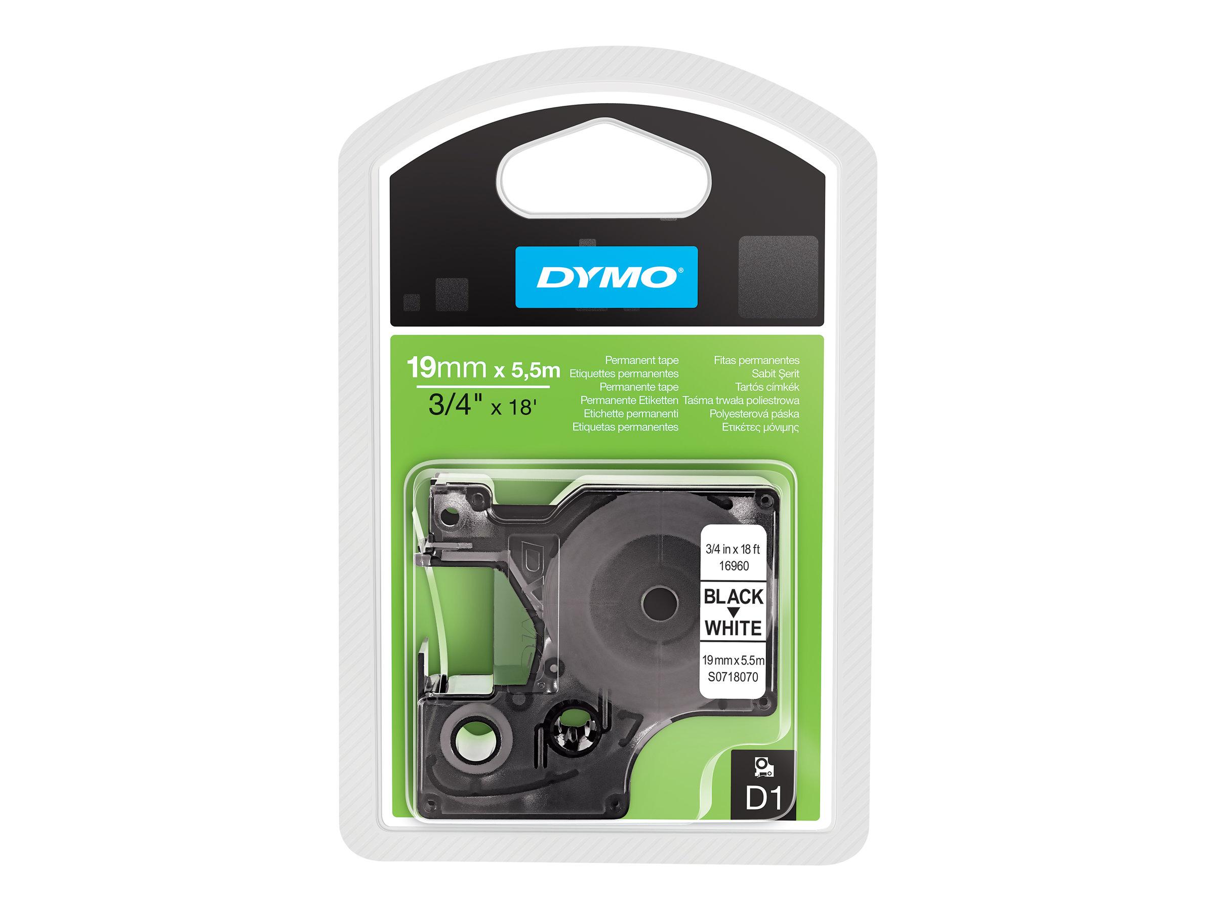 Dymo D1 - Polyester - permanenter Klebstoff - Schwarz auf Weiß - Roll (1.9 cm x 5.5 m)