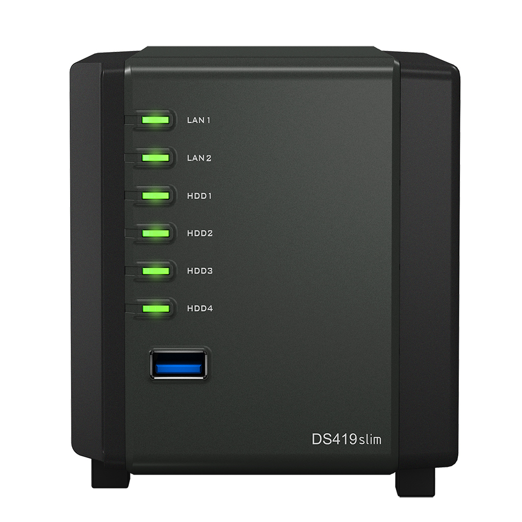 Synology DiskStation DS419slim - NAS - Tower - Marvell - Armada 385 - Schwarz