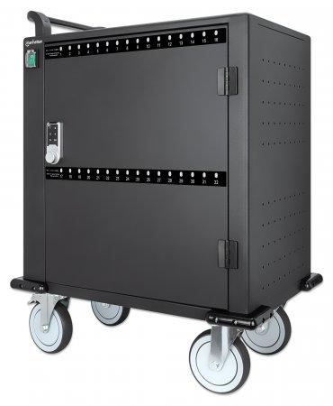 Vorschau: Manhattan 32-Port Ladeschrank auf Rollen 576 W - 32 USB-C PD-Ports - geräumige Fächer für Handys und Tablets - 576 W gesamt - bis zu 3 A/18 W pro Port - Tür mit PIN-Code abschließbar - Überspannungsschutz - leiser Lüfter - Metallgehäuse - schwarz - Wagen zur Verwal