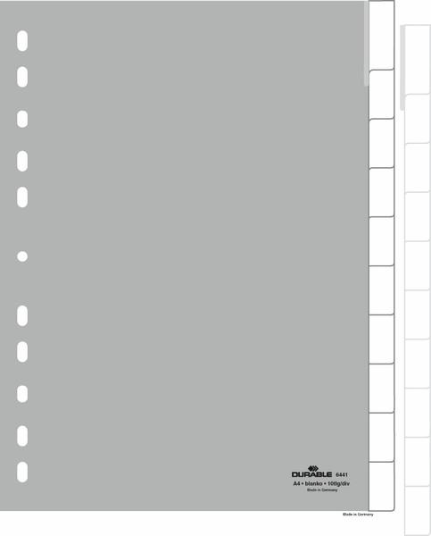 Durable 6441 - Leerer Registerindex - Polypropylen (PP) - Grau - Porträt - A4 - 230 mm