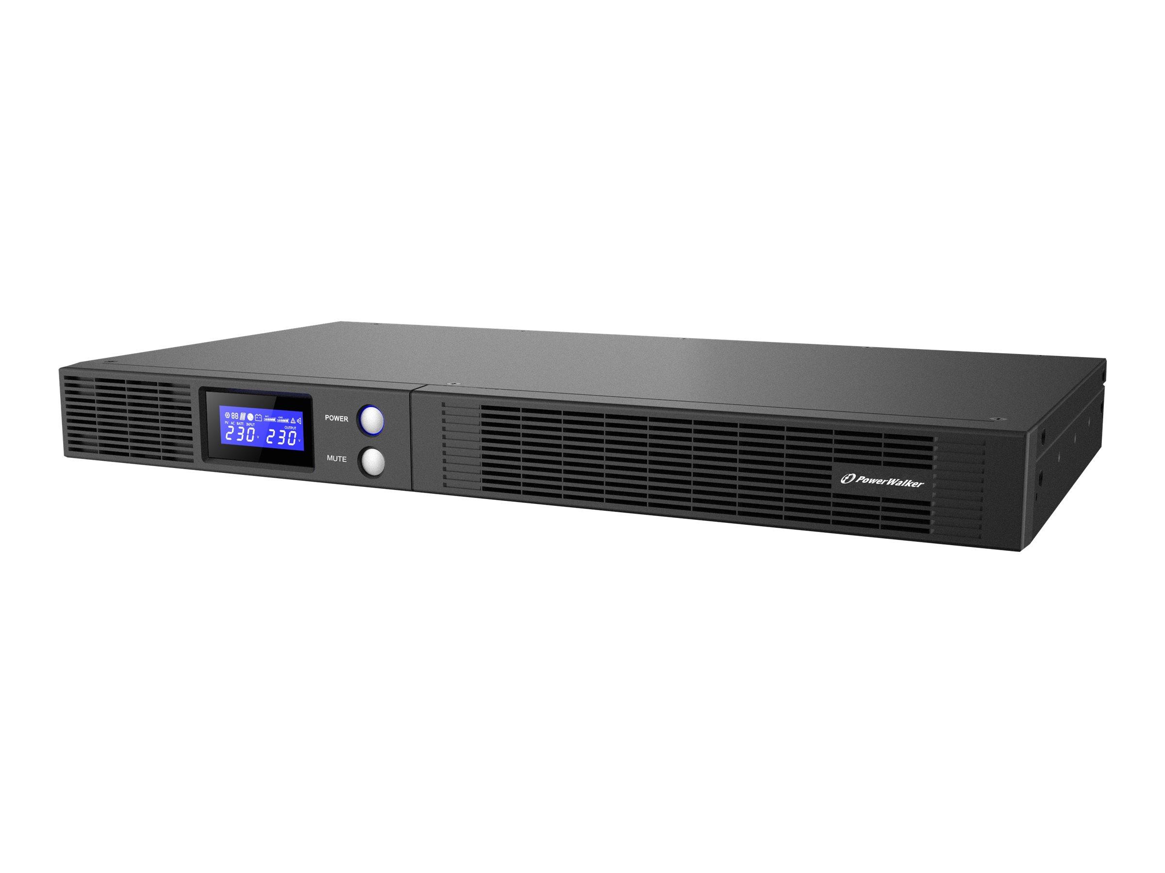 """Bluewalker PowerWalker VI 750 R1U - USV (Rack - einbaufähig) - AC 165-290 V - 450 Watt - 750 VA 9 Ah - RS-232, USB - Ausgangsanschlüsse: 4 - 1U - 48.3 cm (19"""")"""
