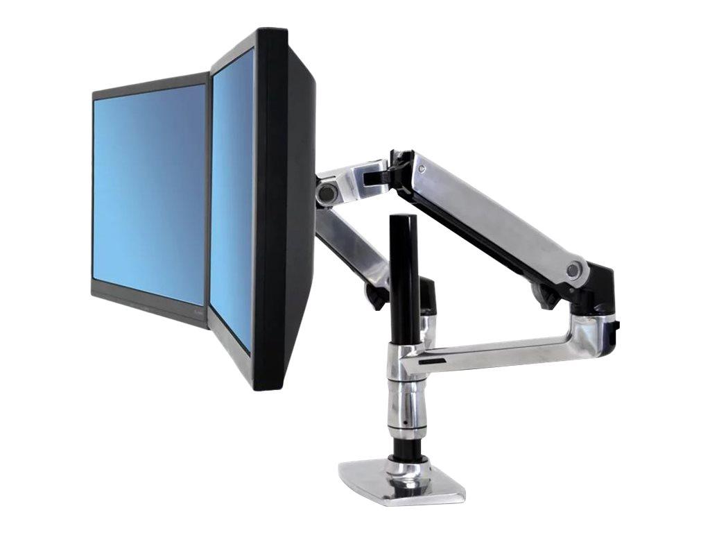 Ergotron LX Dual Stacking Arm - Befestigungskit (Spannbefestigung für Tisch, Tischplattenbohrung, Stange, 2 Gelenkarme, 2 Erweiterungsklammern, Notebook-Ablage)