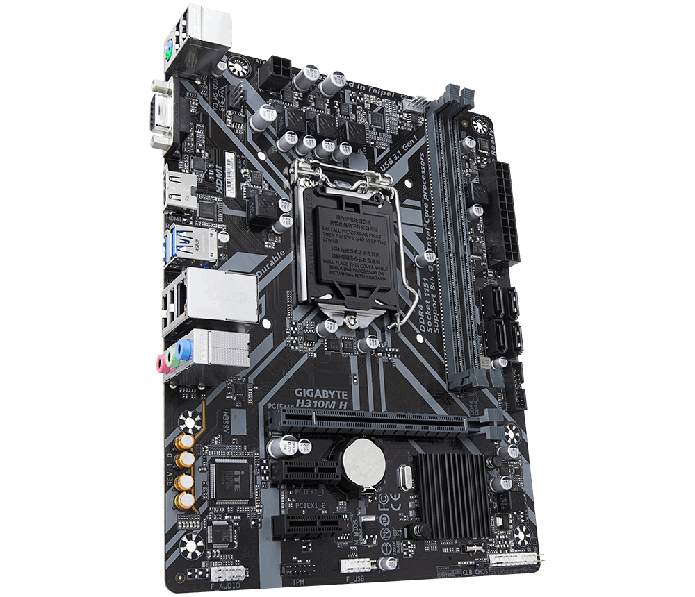 Gigabyte H310M H 2.0 (rev. 1.0) - Intel - LGA 1151 (Socket H4) - Intel? Celeron? - Intel? Core? i3 - Intel Core i5 - Int