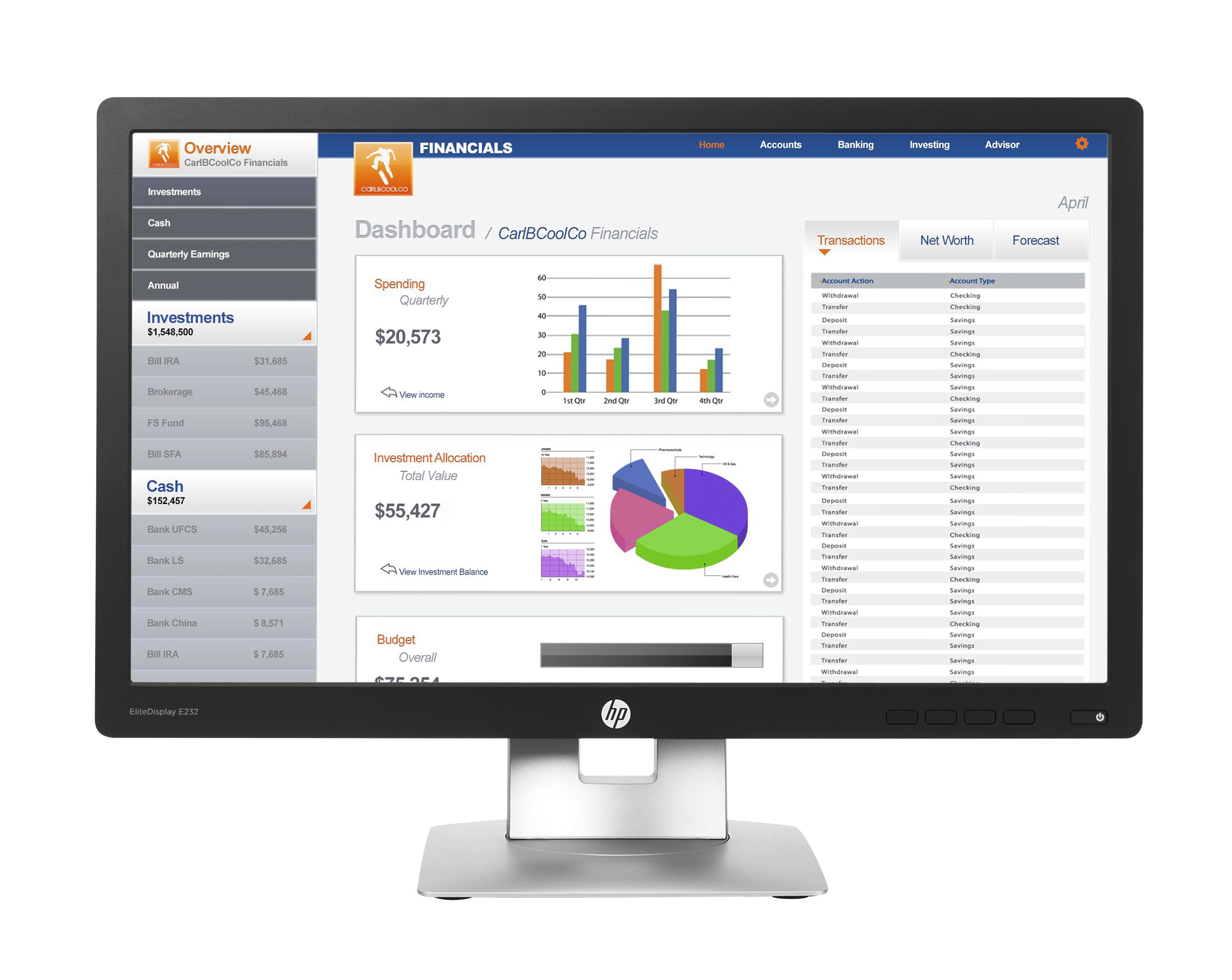 HP EliteDisplay E232 - LED-Monitor - 58.42 cm (23) (23 sichtbar)