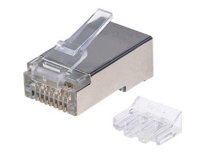 Intellinet 90er-Pack Cat6A RJ45-Modularstecker, STP, 2-Punkt-Aderkontaktierung, für Litzendraht, 90 Stecker im Becher - Netzwerkanschluss - RJ-45 (M)
