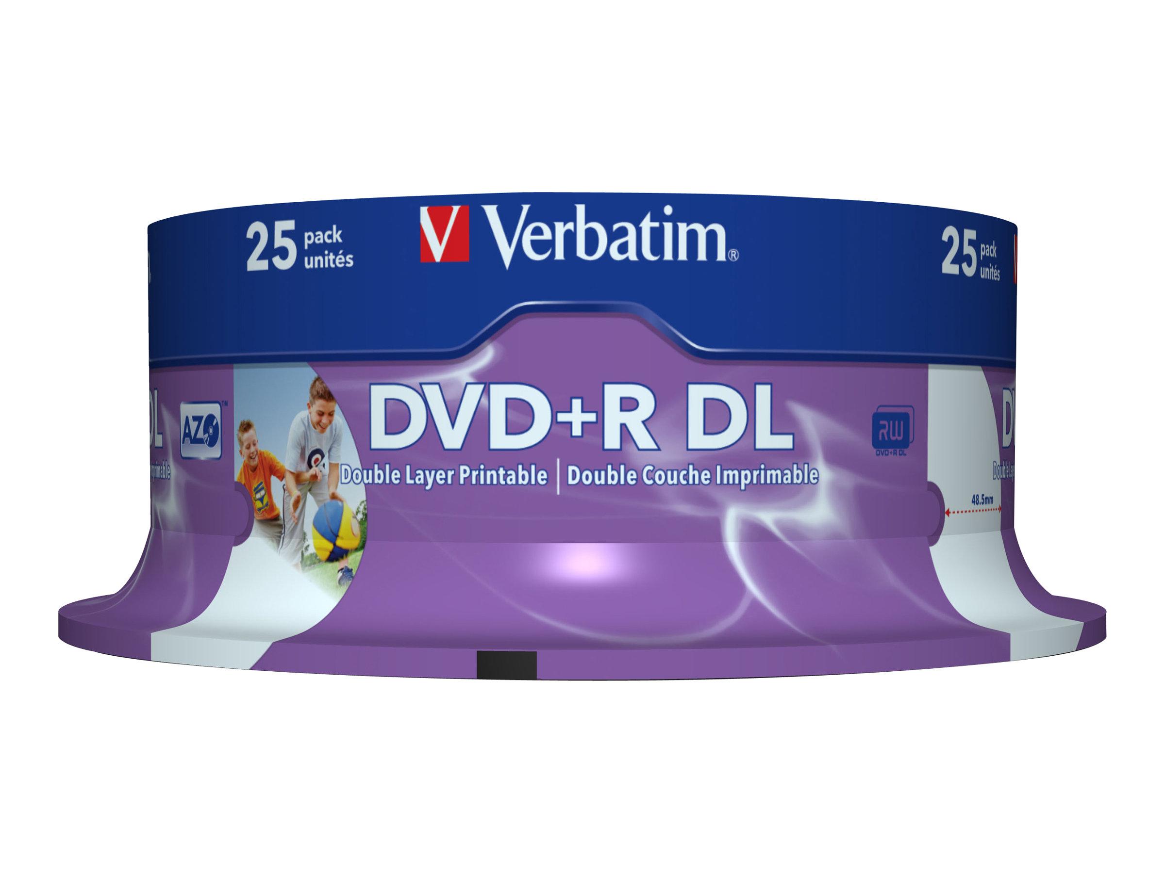 Verbatim 25 x DVD+R DL - 8.5 GB 8x - breite bedruckbare Oberfläche