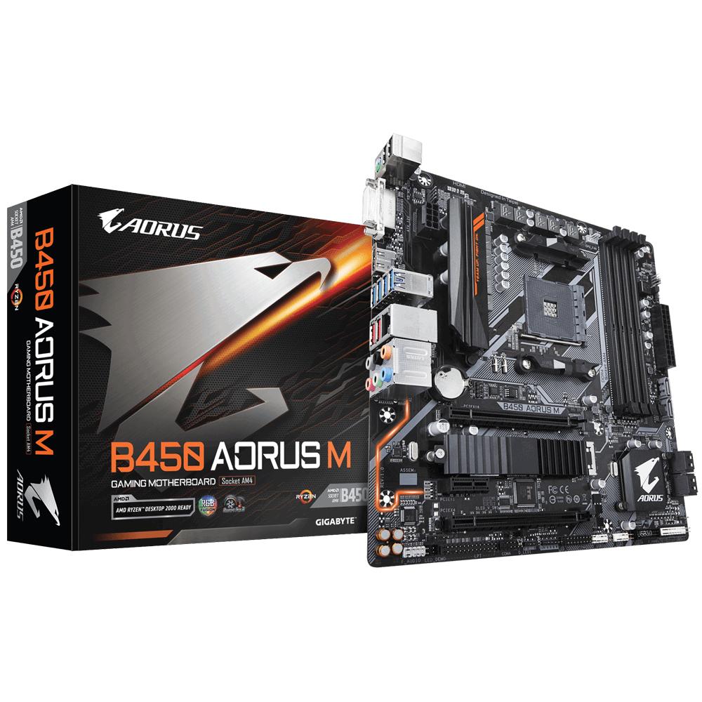 Gigabyte B450 AORUS M (rev. 1.0) - AMD - Buchse AM4 - AMD Ryzen - DDR4-SDRAM - DIMM - 2133,2400,2667,2933,3200 MHz