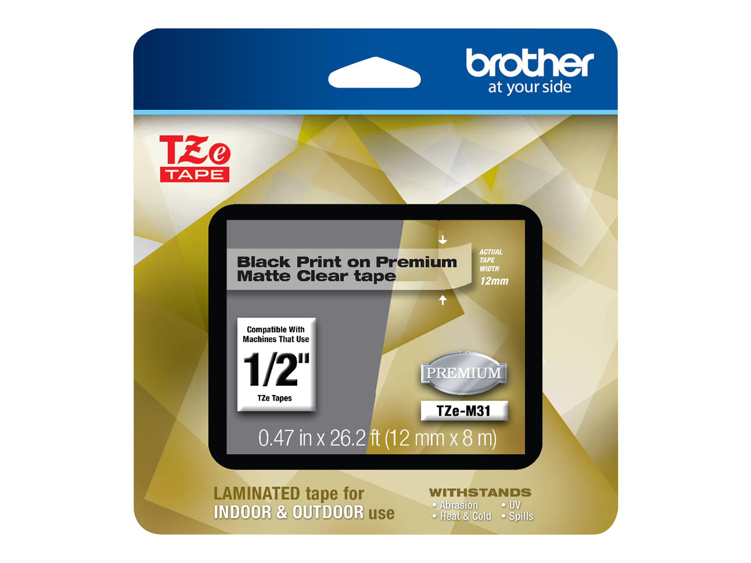Brother TZeM31 - Schwarzer Druck auf Premium Matt Transparent - Rolle (1,2 cm x 7,99 m)