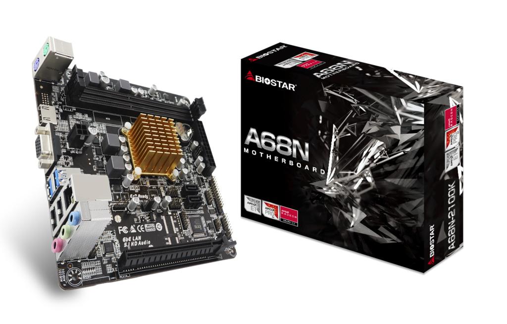 Biostar A68N-2100K - AMD - E1-6010 - DDR3-SDRAM,DDR3L-SDRAM - DIMM - 800,1066,1333 MHz - 16 GB